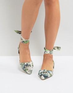 Туфли на плоской подошве с принтом пальм New Look - Кремовый