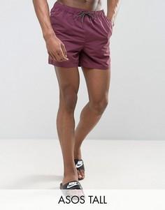 Короткие шорты для плавания сливового цвета ASOS TALL - Фиолетовый