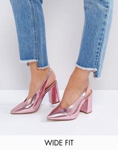Туфли на каблуке для широкой стопы с эффектом металлик New Look - Розовый