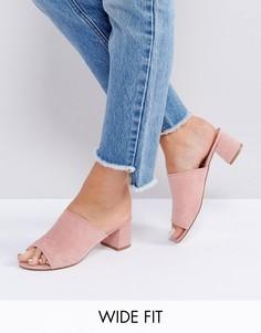 Сабо на каблуке для широкой стопы New Look - Розовый