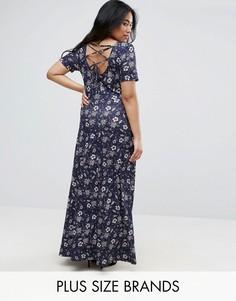 Платье макси со шнуровкой на спине Club L Plus - Мульти