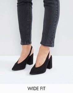Туфли на каблуке для широкой стопы с заостренным носком New Look - Черный