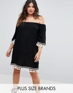 Платье с открытыми плечами и кисточками Boohoo Plus - Черный