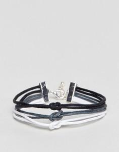 Тройной браслет с черной, серой и белой отделкой ASOS - Мульти
