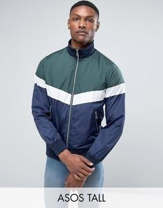 Спортивная куртка на молнии в стиле колор блок ASOS TALL - Зеленый