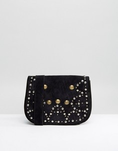 Замшевая сумка-седло с заклепками Park Lane - Черный