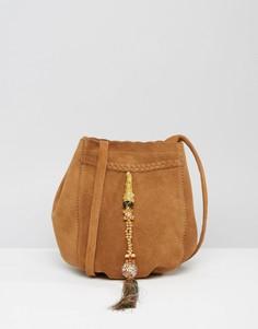Замшевая сумка с декоративной кисточкой Park Lane - Рыжий