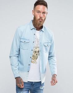 Джинсовая рубашка классического кроя с эффектом деграде ASOS - Синий