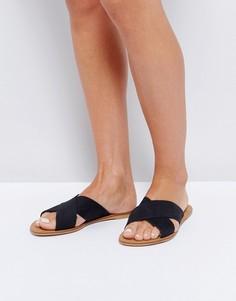 Черные кожаные сандалии Office - Черный