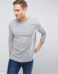 Серая футболка с рукавами 3/4 ASOS - Серый