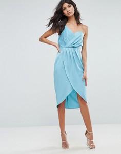Платье миди на одно плечо с драпировкой и запахом ASOS - Синий