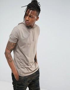 Длинная футболка с круглым вырезом и капюшоном ASOS - Коричневый