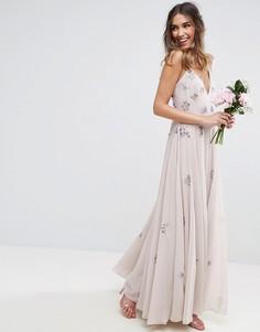 Платье макси на бретельках с декоративной отделкой ASOS WEDDING - Мульти