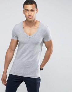 Серая обтягивающая футболка ASOS - Серый