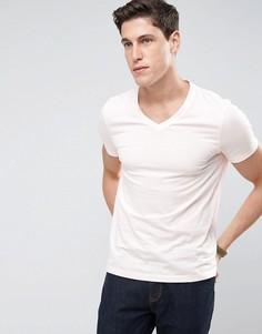 Розовая футболка с V-образным вырезом ASOS - Розовый