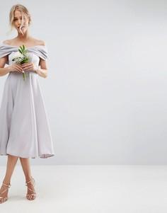 Мягкое платье миди с отделкой в форме банта ASOS WEDDING - Мульти