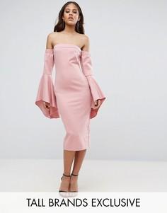 Платье миди с открытыми плечами и рукавами клеш TTYA - Розовый Taller Than Your Average