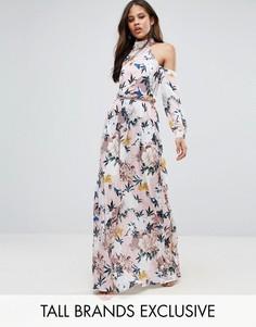 Платье макси с вырезами на плечах, складками на талии и цветочным принтом TTYA - Розовый Taller Than Your Average