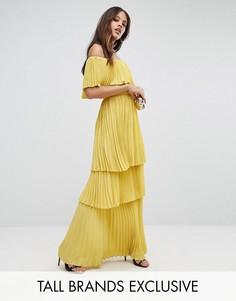 Плиссированное платье макси с открытыми плечами и оборками TTYA - Фиолетовый Taller Than Your Average