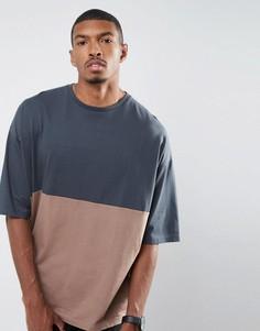 Oversize-футболка в стиле колор блок ASOS - Серый