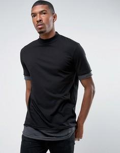 Черная/темно-серая длинная меланжевая футболка в полоску с высоким воротом ASOS - Черный