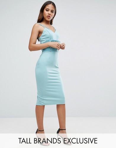 Платье-футляр с отделкой в стиле корсета и сетчатыми вставками TTYA - Синий