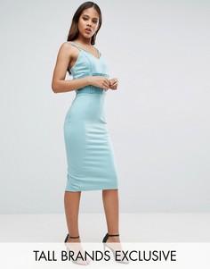 Платье-футляр с отделкой в стиле корсета и сетчатыми вставками TTYA - Синий Taller Than Your Average