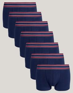 Набор из 7 темно-синих трусов-хипстеров с полосатым поясом ASOS - Темно-синий