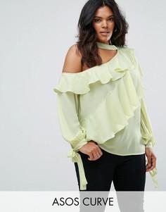 Блузка с оборками и открытым плечом ASOS CURVE - Зеленый