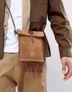 Светло-коричневая кожаная сумка для путешествий с тиснением ASOS - Рыжий