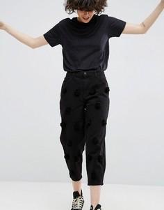 Черные выбеленные джинсы с помпонами ASOS WHITE - Черный
