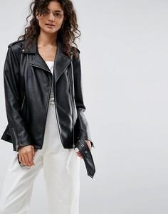 Длинная байкерская куртка из искусственной кожи ASOS - Черный