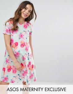 Свободное платье с цветочным принтом ASOS Maternity - Мульти