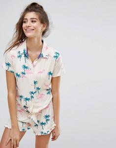 Пижама с поясом и пальмовым принтом Chelsea Peers - Мульти