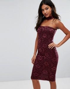 Кружевное платье миди с чокером AX Paris - Фиолетовый
