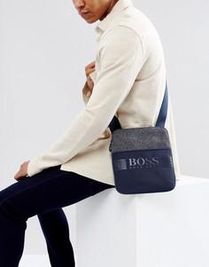 Темно-синяя сумка из разных видов ткани BOSS Green by Hugo Boss - Темно-синий