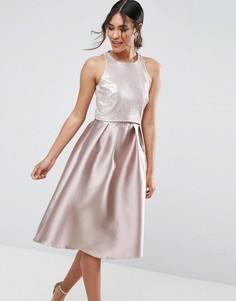 Платье миди с пайетками на лифе Little Mistress - Розовый