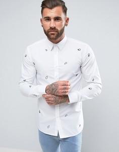 Приталенная рубашка с принтом пейсли HUGO by Hugo Boss Emmingway - Синий