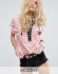 Oversize-футболка со шнуровкой и принтом тай-дай Reclaimed Vintage Inspired - Розовый