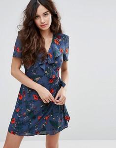 Платье с запахом и принтом Fashion Union - Черный