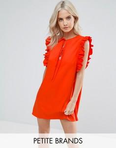 Свободное платье с рюшами и завязками Fashion Union Petite - Красный