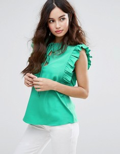 Топ без рукавов с оборкой и завязками Fashion Union - Зеленый