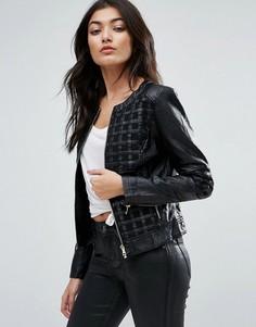 Байкерская куртка из искусственной кожи с решетчатой отделкой Jasmine - Черный