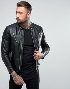Кожаная байкерская куртка Replay - Черный
