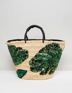 Сумка с принтом пальм New Look - Зеленый