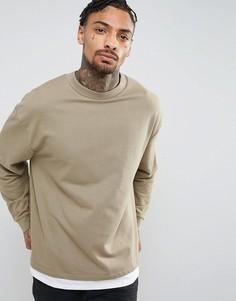 Oversize-свитшот с эффектом футболки ASOS - Бежевый