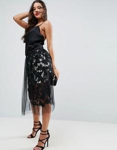 Кружевная юбка для выпускного с верхним слоем из тюля ASOS - Серый