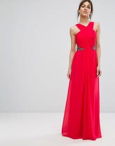 Платье макси с запахом и декорированной талией Little Mistress - Красный
