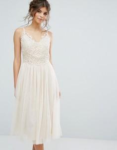 Платье миди с кружевным топом и юбкой из тюля Little Mistress - Бежевый