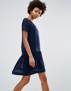 Цельнокройное платье с оборкой Ichi - Темно-синий
